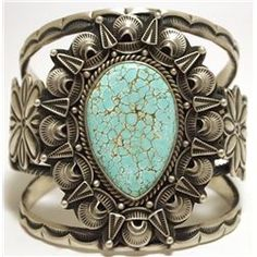 ~ Old Pawn Navajo Spider Web #8 Turquoise Sterling Silver Cuff Bracelet - Randy Boyd ~ icollector.com