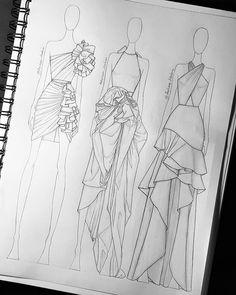 Still obsessed with frills and ruffles 😅...#sketch #illustration #illustrator #fashion #design #artesanato