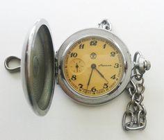 Soviet Molnia pocket watch vintage Molnija watch by AntiqueSoviet