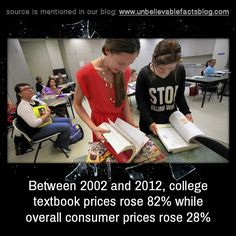 Between 2002 and 2012, college textbook prices rose 82% while overall consumer prices rose 28%