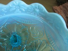 Northwoods Blue Opalescent Bowl by LazyYVintage on Etsy