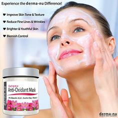 Anti-Aging Facial Mask with Exfoliating Clay - Reduce Wrinkles and Face Blemishes - Blackheads and Acne - Premium Deep Pore Cleansing Treatment for All Skin Types - Natural and Organic with Vitamin C Facial Scrubs, Facial Masks, Anti Aging Facial, Natural Facial, Glycolic Acid, Facial Care, Tips Belleza, Health And Beauty, Skin Care