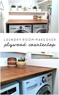 Countertops Laundry Room Makeover: DIY Plywood Countertop - The Ugly Duckling House - This DIY wood countertop project was inexpensive and able to complete with one person for installation. See how it transformed this laundry room overnight! Wood Countertops, Room Makeover, Kitchen Decor, Diy Makeover, Room Diy, Plywood Countertop, Room Storage Diy, Laundry Room Countertop