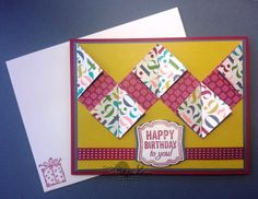 STAMPIN' UP! CHICKSTAMPER--HANDMADE CHEVRON 'HAPPY BIRTHDAY' GREETING CARD!! Label Love Stamp Set. Click on picture for supplies & dimensions for this fun-fold card :)