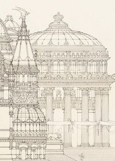 Paper Architects. Otto Schmalz (German, 1861-1906), Design for a royal summer residence (1886; details)