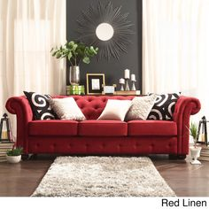 Knightsbridge Tufted Scroll Arm Chesterfield Sofa by iNSPIRE Q Artisan (Red Linen Sofa) (Fabric) Chesterfield Sofa, Tufted Sofa, Couch Sofa, Velvet Couch, Red Couch Living Room, Living Room Furniture, Red Living Room Decor, Brown Furniture, Red Sofa Decor