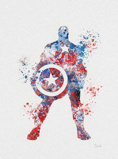 Captain America ART PRINT 10 x 8 illustration by SubjectArt