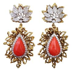 Coral Diamond Platinum Gold Ear Pendants | From a unique collection of vintage drop earrings
