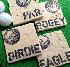 Golf Gifts Golf Theme Natural Stone Coaster Set Beer Coaster, Coaster - For the golf enthusiast in your life. Each coaster is made of a tumbled travertine tile featuring our D Beer Coasters, Stone Coasters, Thema Golf, Golfball, Golf Room, Golf Ball Crafts, Golf Outing, Golf Theme, Golf Party