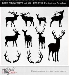 Deer Cliparts - Deer Silhouettes - Antlers Clipart - Deer Clip Art - vector EPS PNG and PS Brushes Christmas deer clipart deer digital by BlackCatsMedia on Etsy https://www.etsy.com/listing/172788977/deer-cliparts-deer-silhouettes-antlers