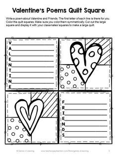 Valentine's Day Writing Prompts Quilt - 7 printable Valentine's Day writing prompts to make a class Valentine's Day quilt.