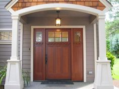 arts and crafts doors, Craftsman style doors , mission style doors, front exterior doors for sale in Michigan Craftsman Style Front Doors, Craftsman Exterior, Exterior Front Doors, Craftsman Bungalows, Entry Doors, Craftsman Homes, Wood Doors, Grey Exterior, Exterior Paint