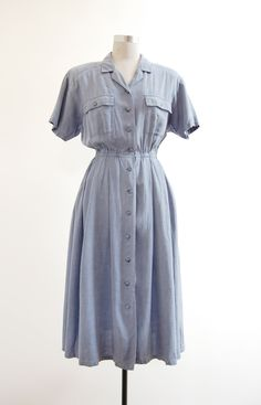 ➸ Common Blue Dress | s/m | 1980s japan vintage | http://etsy.me/1GW7FoQ