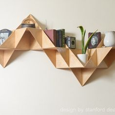 Instagram media by handmadeloves - I would love to fill these nooks & crannies with handmade loves. Triangular birch wood wall mount hand crafted by #designbystanford  https://www.etsy.com/shop/Designbystanford  #handmadeloves #etsy #shelf #homedecor