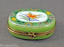 NEW HAND PAINTED FRENCH LIMOGES BOX WITH COLORFUL EXOTIC FLOWERS