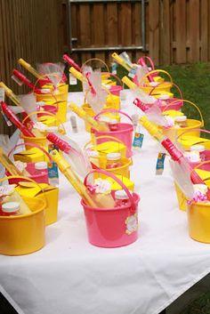 Favor bucket table - Pink Lemonade 1st Birthday Party!