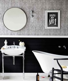 #Black and #white #bathroom ideas - www.remodelworks.com