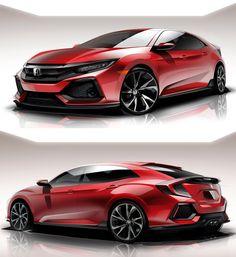 機能と表現でスポーティーを追求。 Civciv Type R Design Sketch Car Design Sketch, Car Sketch, Honda Type R, Civic Hatchback, Honda Cars, Honda Civic Coupe, Industrial Design Sketch, Transportation Design, Car Drawings