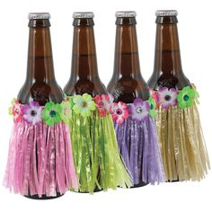 The Bottle Hula Skirt looks like a grass hula skirt with colorful flowers along the waistline. Do a little hula dance while drinking a bottled beverage decorated with this hula skirt! Halloween Party Supplies, Halloween Costume Shop, Kids Party Supplies, Halloween Costumes For Kids, Hula Dance, Hula Skirt, Luau Birthday, Tiki Party, Personalized Party Favors