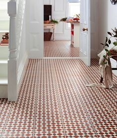 Offering an encaustic look that is inspired by Spanish design, our Merola Tile Henley Rojo Encaustic in. Ceramic Floor and Wall Tile offers a unique rustic style with a modern twist. Warm Tiles, Tiles Direct, Tiled Hallway, Topps Tiles, Pink Tiles, Spanish Design, Galley Kitchens, Small Tiles, Adhesive Tiles