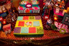 Painted tile cookies at a Bollywood Party #bollywoodparty #cookies