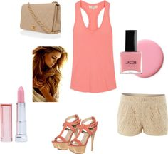 Nude, Coral, and Light Pink, created by amh220 on Polyvore
