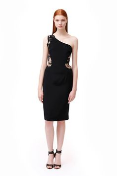 One shoulder LBD. Monique Lhuillier   Pre-Fall 2014 Collection   Style.com