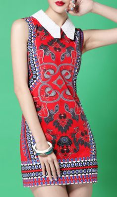 This is a fun eye-catching little dress :) Sleeveless floral print lapel dress 1721 Red