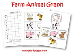 Farm animal graphing activity for preschool or kindergarten-Math game for curriculum project