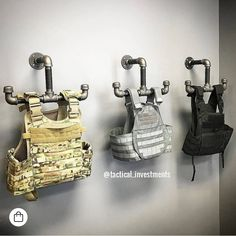 Tactical Vest Hangers - Real Time - Diet, Exercise, Fitness, Finance You for Healthy articles ideas Tactical Wall, Tactical Vest, Police Tactical Gear, Airsoft Gear, Weapon Storage, Gun Storage, Police Gear Stand, Gun Safe Room, Reloading Room