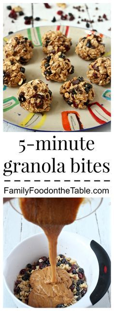 An easy, recipe for wholesome granola bites with nuts, dried fruit and chocolate chips - a delicious afternoon snack for kids and adults! Healthy Munchies, Healthy Treats, Healthy Desserts, Healthy Food, Healthy Eating, Healthy Recipes, Granola Bites, Homade Granola Bars, Snack Recipes