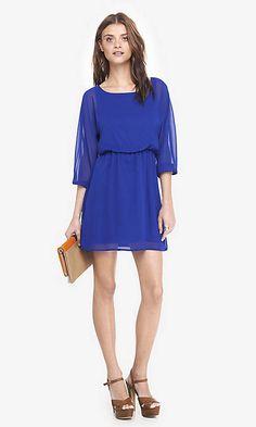 Blue Chiffon Dolman Dress   Express