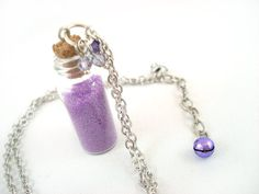 Lavender Fairy Dust Bottle Necklace by angelyques on Etsy, $12.00