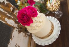 Stunning rosette wedding cake with hot pink flowers and gold sequin band. See more of this styled shoot at http://blog.myweddingreceptionideas.com/2014/08/glittery-pink-yellow-and-blue-styled.html  #mwri #wedding #cake #inspiration