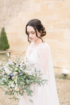 I love how this wedding ideas editorial creates a twist on the winter barn wedding, by giving it a fresh and bright update. Using a palette of icy pale blues Ethereal Wedding, Boho Wedding, Whimsical Wedding, Wedding Decor, Rustic Wedding, Wedding Flowers, Bohemian Style Dresses, Bohemian Bride, Loose Hairstyles