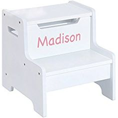 Personalized Expressions Step Stool, load capacity is a strong and sturdy stool designed for children. The solid construction of this stool makes it durable. This lightweight stool features handle cut outs Furniture Layout, Kids Furniture, Diy Wood Projects, Wood Crafts, Paint Storage, Kids Bookcase, Small Accent Chairs, Personalized Baby Gifts, Recycled Furniture