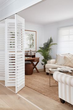 Luxaflex PolySatin® Shutters are the modern alternative to traditional wooden shutters and combines timeless gradeur with practical and durable design. Room Divider Doors, Diy Room Divider, Room Divider Screen, Studio Apartment Design, Studio Apartment Decorating, Home Renovation, Home Remodeling, My Ideal Home, Home Decor Kitchen