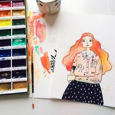 Posts about creativity, illustration, art supplies, travel and other adventures. Watercolor Girl, Watercolor Illustration, Watercolour, Kuretake Gansai Tambi, Cat Shirts, E Design, Gouache, Art Supplies, Graphic Art