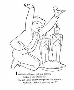 bluebonkers nursery rhymes coloring page sheets little jack horner mother goose