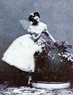 The woman photographed is Emma Livry, who was one of the last ballerinas of the Romantic era. She was a protégée of Marie Taglioni, and she attended the Paris Opera School.
