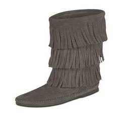 Women's Minnetonka Calf Hi 3-Layer Fringe Boot - Grey