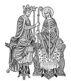 Στο πλαίσιο μιας σειράς μεταρρυθμίσεων ο πάπας Γρηγόριος Ζ΄ έθεσε εμπόδια στο διορισμό των επισκόπων της Εκκλησίας από τον Γερμανό αυτοκράτορα προκαλώντας με αυτόν τον τρόπο ρήξη ανάμεσα στους δύο πόλους εξουσίας : την Καθολική Εκκλησία και την Αγία Ρωμαϊκή Αυτοκρατορία του Γερμανικού Έθνους. Η κρίση αυτή διήρκεσε αρκετές δεκαετίες και οδήγησε σε ενίσχυση της παπικής επιρροής. Η εικόνα αναδεικνύει αυτήν ακριβώς την πρακτική του αυτοκράτορα να ορίζει εκείνος τους επισκόπους της αρεσκείας του.