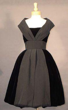 Superb Black Velvet Cocktail Dress w/ Faille Accents. 1950s Style, Vintage Mode, Vintage Wear, Vintage Style, Vintage Outfits, Vintage Dresses, Vintage Clothing, 1950s Fashion, Vintage Fashion