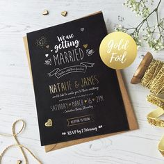 Gold Foil Wedding Invitation / Chalkboard Invitation / Rustic