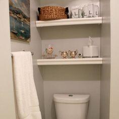 DIY Designer Built In Bathroom Shelving