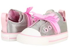20972ef2cb94 Converse kids chuck taylor all star simple slip ox infant toddler silver  pink. Little Girl ...