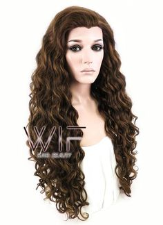 """26"""" Long Spiral Brown Lace Front Synthetic Hair Wig LF243"""