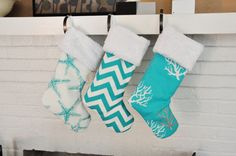 Turquoise Ocean Christmas Nautical Christmas Stocking Coastal Ocean Sea Friends Isadella Chevron no. Coastal Christmas Stockings, Turquoise Christmas, Coastal Christmas Decor, Nautical Christmas, Christmas Decorations, Christmas Ideas, Holiday Ideas, Holiday Decorating, Holiday Crafts
