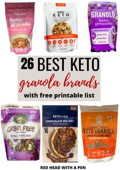 Look no further, this is the ultimate list of low carb cereal options that you can buy! Did I mention there's free printables?? Keto Snacks To Buy, Good Keto Snacks, Granola Brands, Sweet Fat Bombs, Low Carb Cereal, Best Keto Breakfast, Organic Granola, Keto Granola, Gluten Free Grains