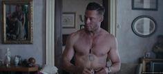 "Brad Pitt Shirtless in ""Fury"" - FamousBodies.org"